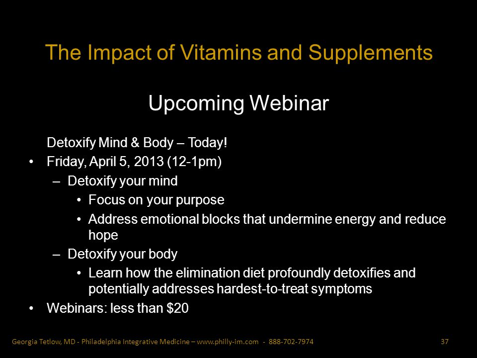 Upcoming Webinar Detoxify Mind & Body – Today.