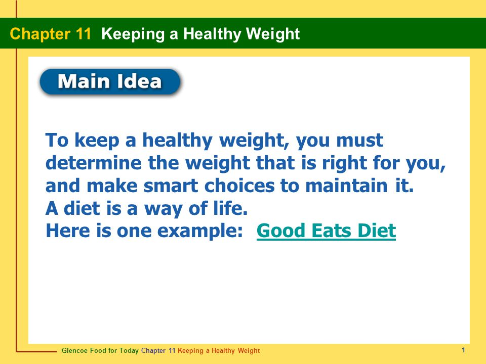 Glencoe Food for Today Chapter 11 Keeping a Healthy Weight Chapter 11 Keeping a Healthy Weight 2 Content Vocabulary Academic Vocabulary body mass index (BMI) overweight obese body fat percentage behavior modification emotional eating aerobic exercise anaerobic exercise fad diet minimize chronic