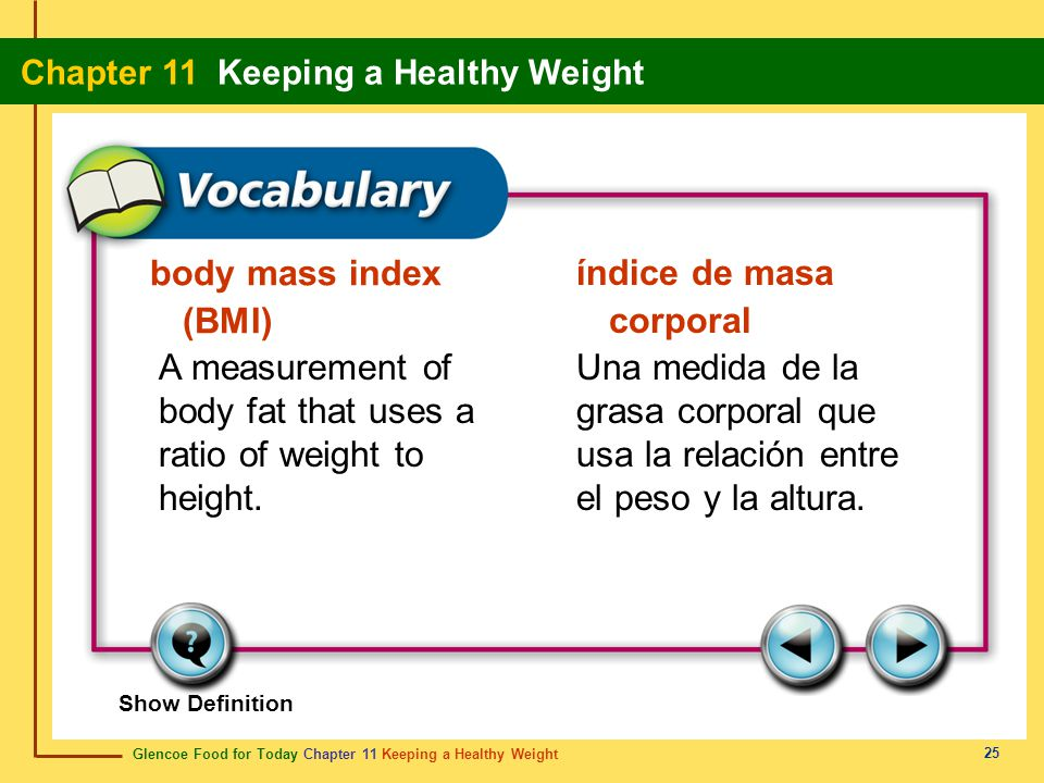 Glencoe Food for Today Chapter 11 Keeping a Healthy Weight Chapter 11 Keeping a Healthy Weight 25 body mass index (BMI) índice de masa corporal A meas