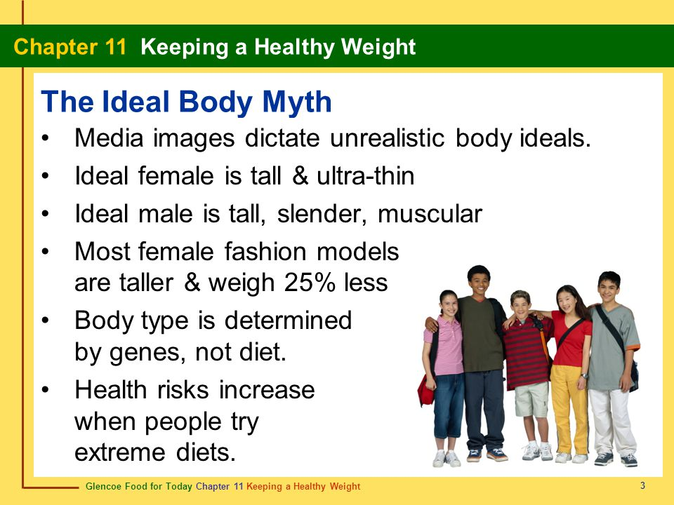 Glencoe Food for Today Chapter 11 Keeping a Healthy Weight Chapter 11 Keeping a Healthy Weight 14 Managing Weight 1 pound body fat = 3500 calories To lose weight healthfully: Avoid fad diets.