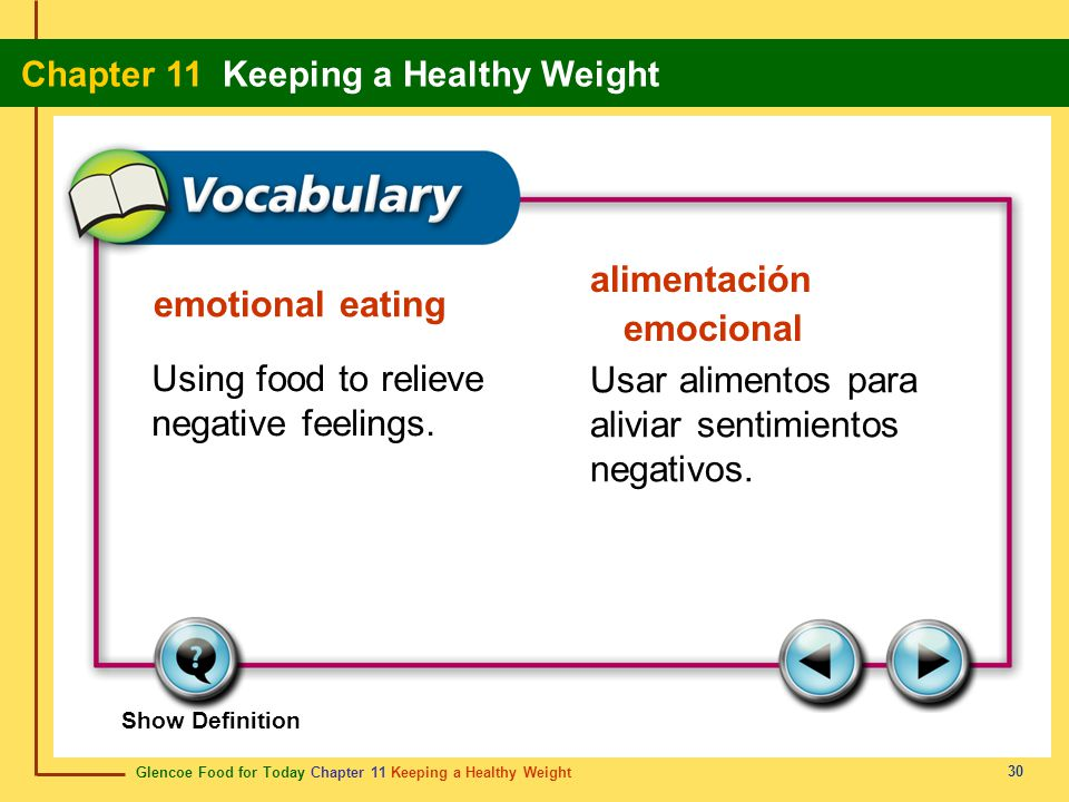 Glencoe Food for Today Chapter 11 Keeping a Healthy Weight Chapter 11 Keeping a Healthy Weight 30 emotional eating alimentación emocional Using food t