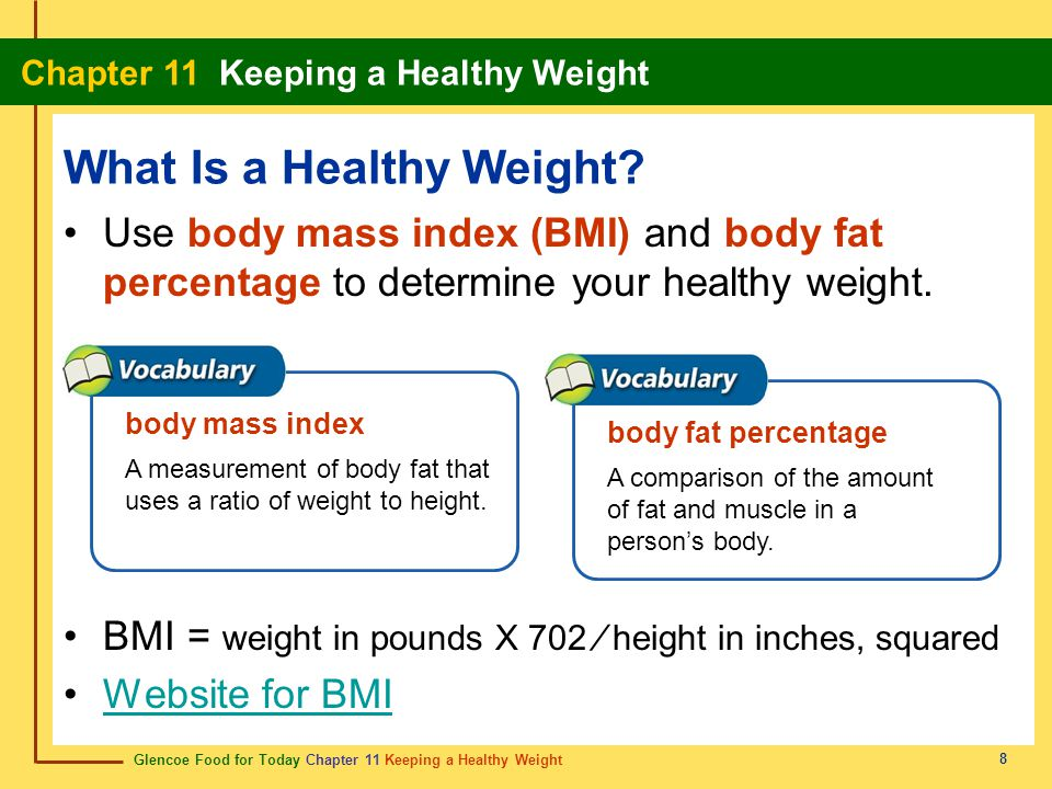 Glencoe Food for Today Chapter 11 Keeping a Healthy Weight Chapter 11 Keeping a Healthy Weight 29 behavior modification modificación de comportamiento Making gradual, permanent changes in eating and activity habits.