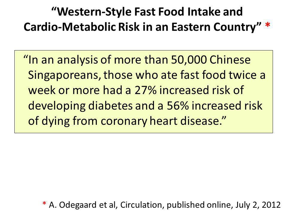 Western-Style Fast Food Intake and Cardio-Metabolic Risk in an Eastern Country * In an analysis of more than 50,000 Chinese Singaporeans, those who at