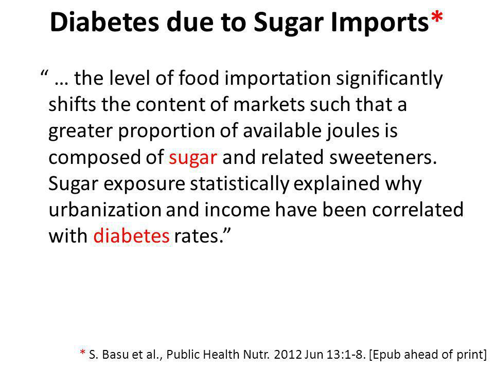 Diabetes due to Sugar Imports* … the level of food importation significantly shifts the content of markets such that a greater proportion of available