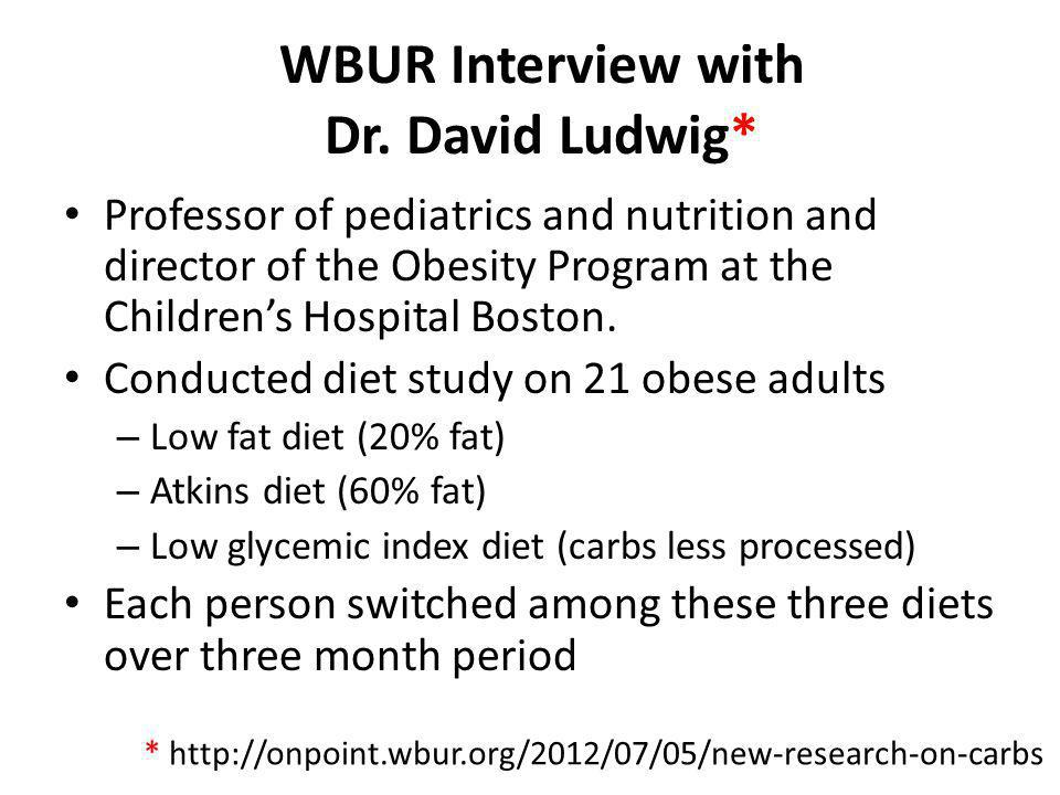 WBUR Interview with Dr. David Ludwig* Professor of pediatrics and nutrition and director of the Obesity Program at the Childrens Hospital Boston. Cond