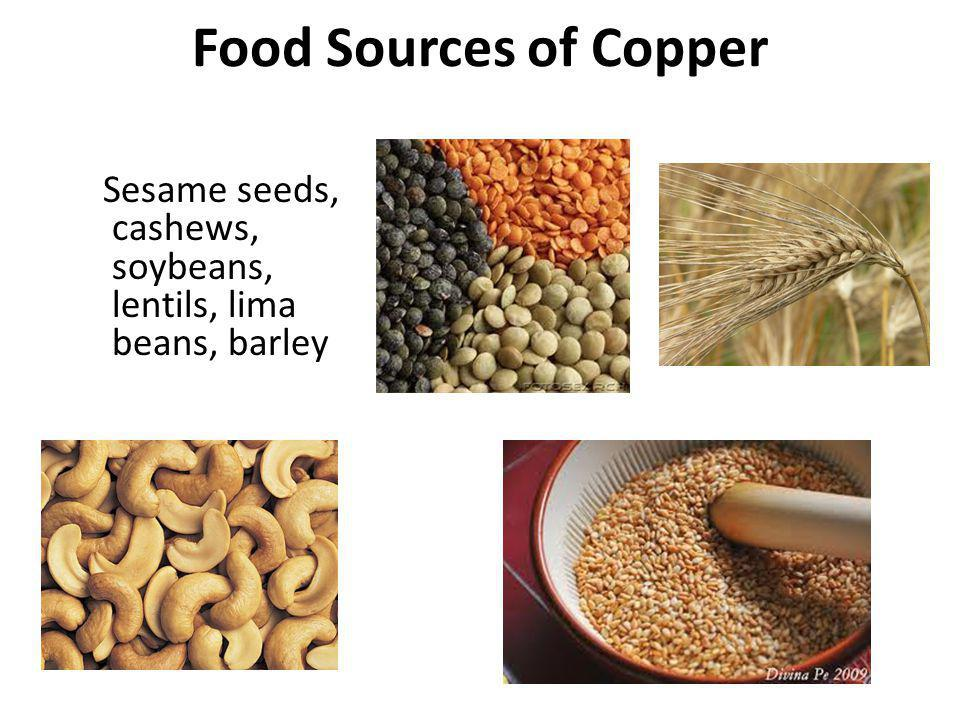 Food Sources of Copper Sesame seeds, cashews, soybeans, lentils, lima beans, barley