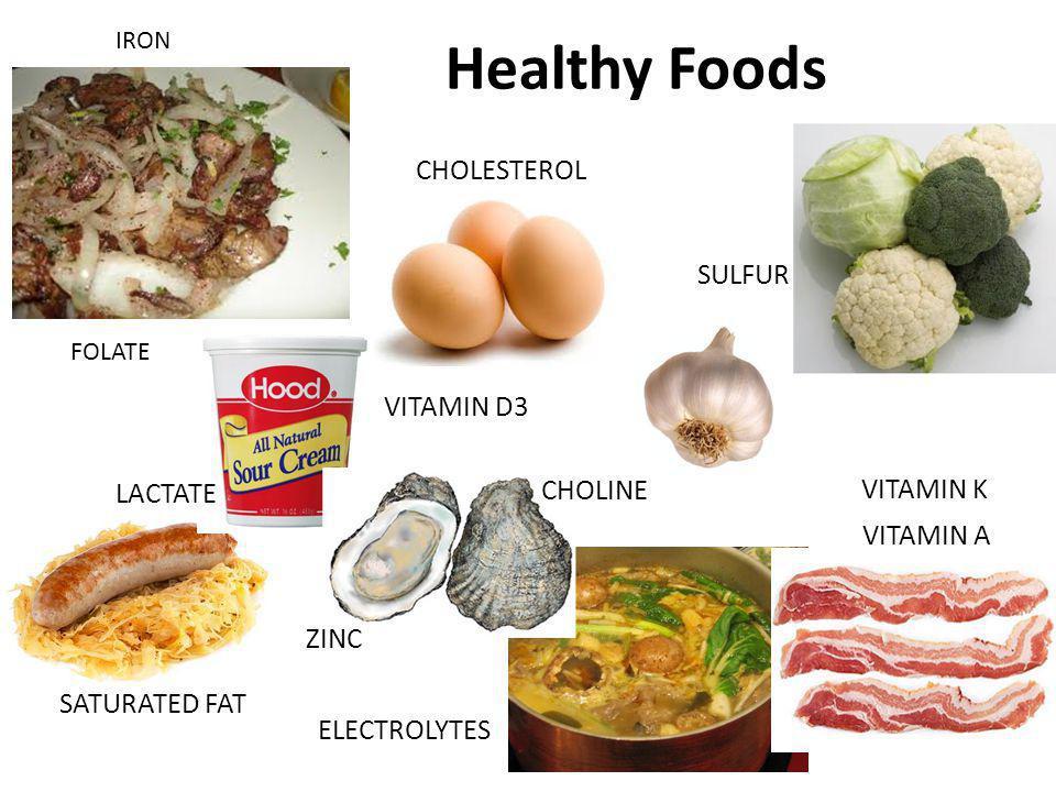 Healthy Foods SULFUR IRON VITAMIN D3 ELECTROLYTES SATURATED FAT CHOLESTEROL LACTATE FOLATE VITAMIN A CHOLINE ZINC VITAMIN K