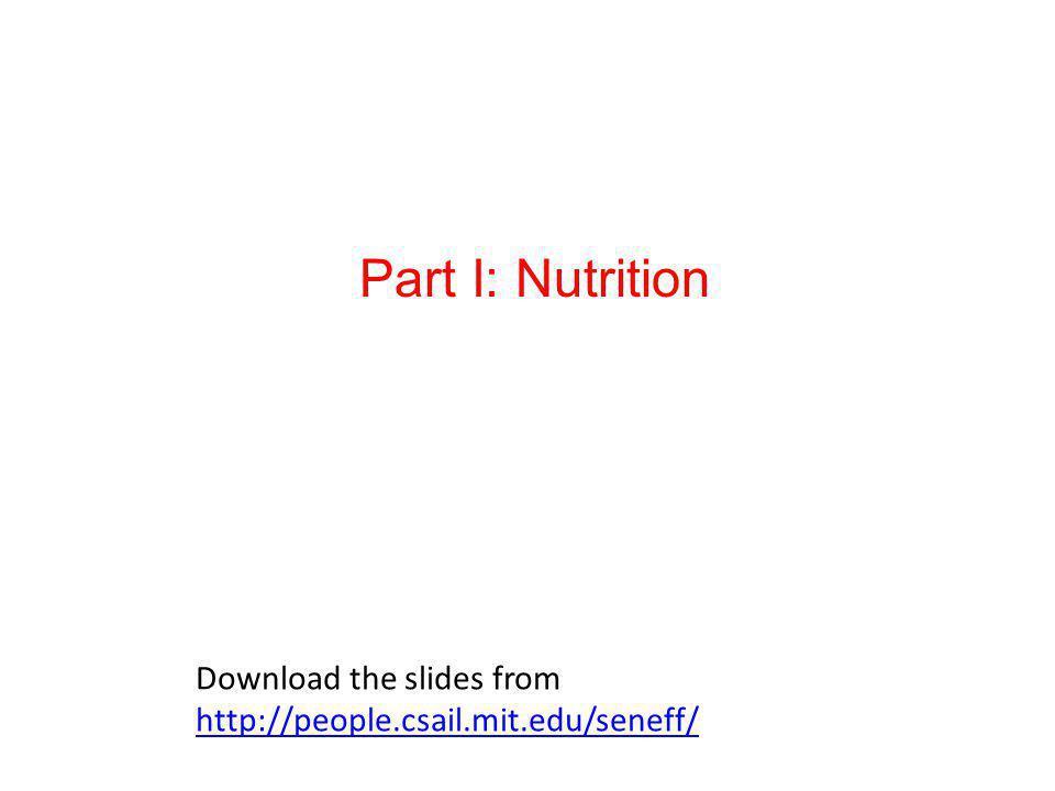 Part I: Nutrition Download the slides from http://people.csail.mit.edu/seneff/ http://people.csail.mit.edu/seneff/
