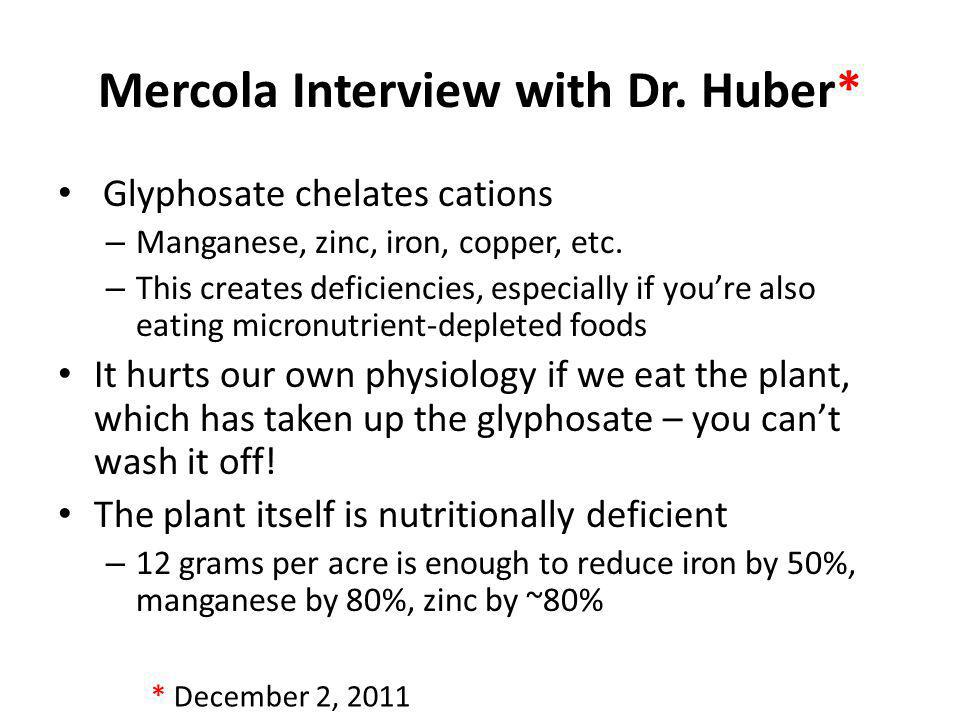 Mercola Interview with Dr. Huber* Glyphosate chelates cations – Manganese, zinc, iron, copper, etc. – This creates deficiencies, especially if youre a