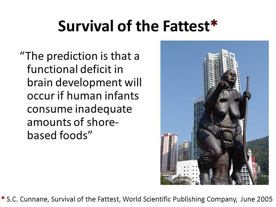 The prediction is that a functional deficit in brain development will occur if human infants consume inadequate amounts of shore- based foods
