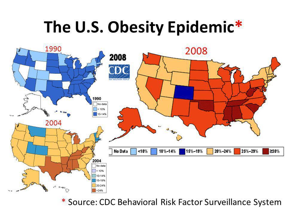 The U.S. Obesity Epidemic* 1990 2004 2008 * Source: CDC Behavioral Risk Factor Surveillance System