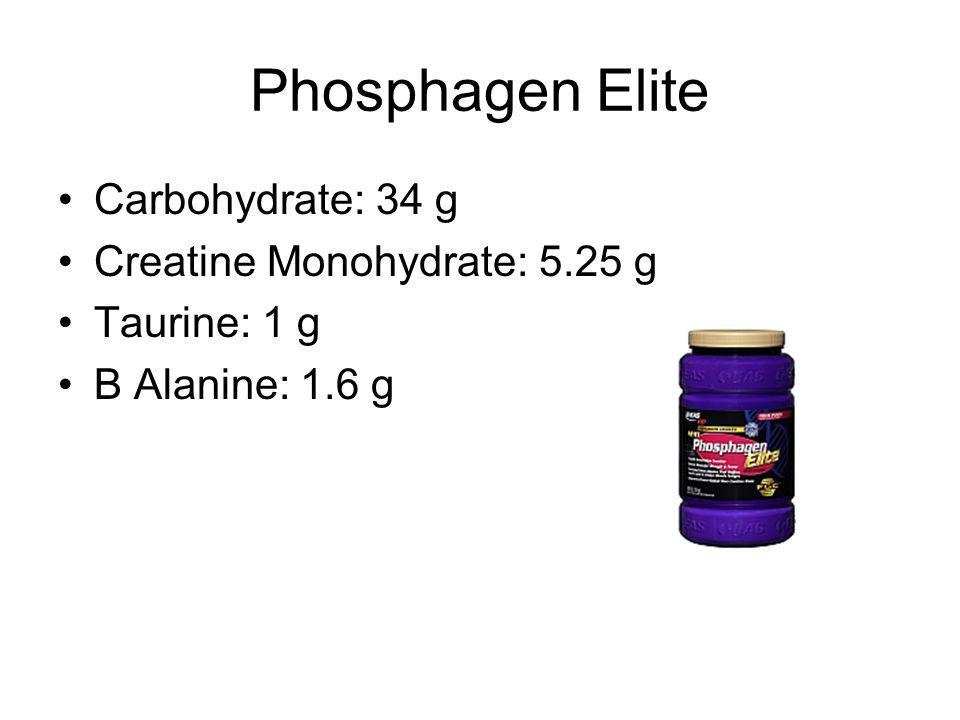 Phosphagen Elite Carbohydrate: 34 g Creatine Monohydrate: 5.25 g Taurine: 1 g B Alanine: 1.6 g