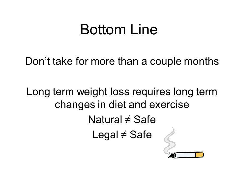 Bottom Line Dont take for more than a couple months Long term weight loss requires long term changes in diet and exercise Natural Safe Legal Safe