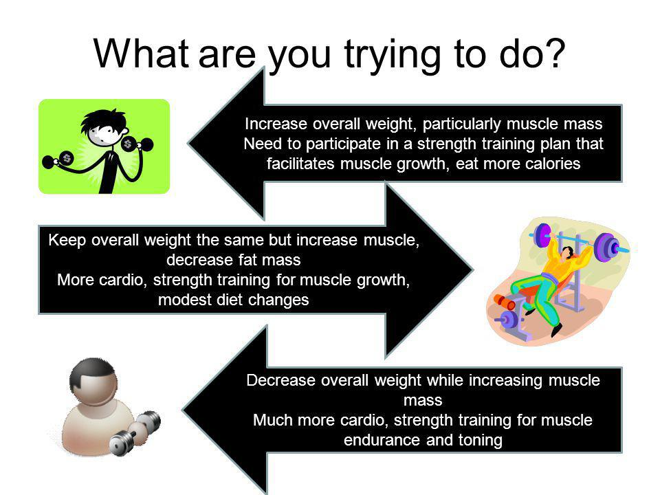 What are you trying to do? Increase overall weight, particularly muscle mass Need to participate in a strength training plan that facilitates muscle g