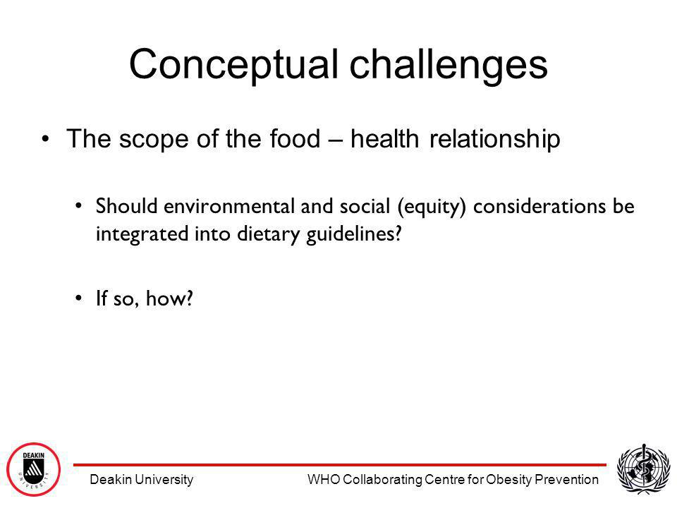 Deakin University WHO Collaborating Centre for Obesity Prevention Conceptual challenges The scope of the food – health relationship Should environmental and social (equity) considerations be integrated into dietary guidelines.
