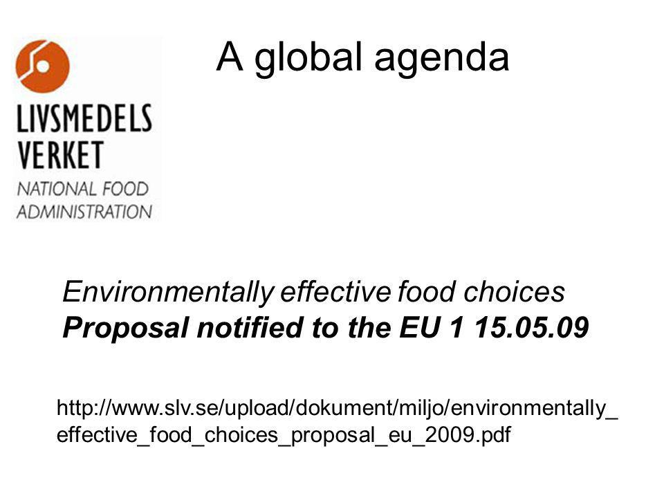 A global agenda Environmentally effective food choices Proposal notified to the EU 1 15.05.09 http://www.slv.se/upload/dokument/miljo/environmentally_ effective_food_choices_proposal_eu_2009.pdf