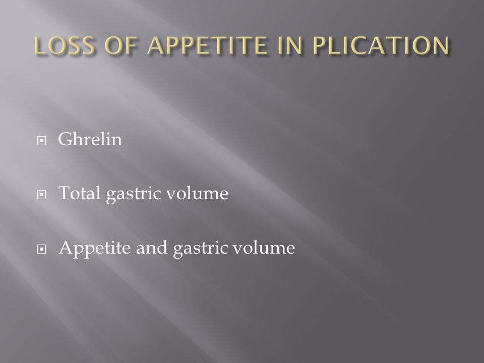 Ghrelin Total gastric volume Appetite and gastric volume