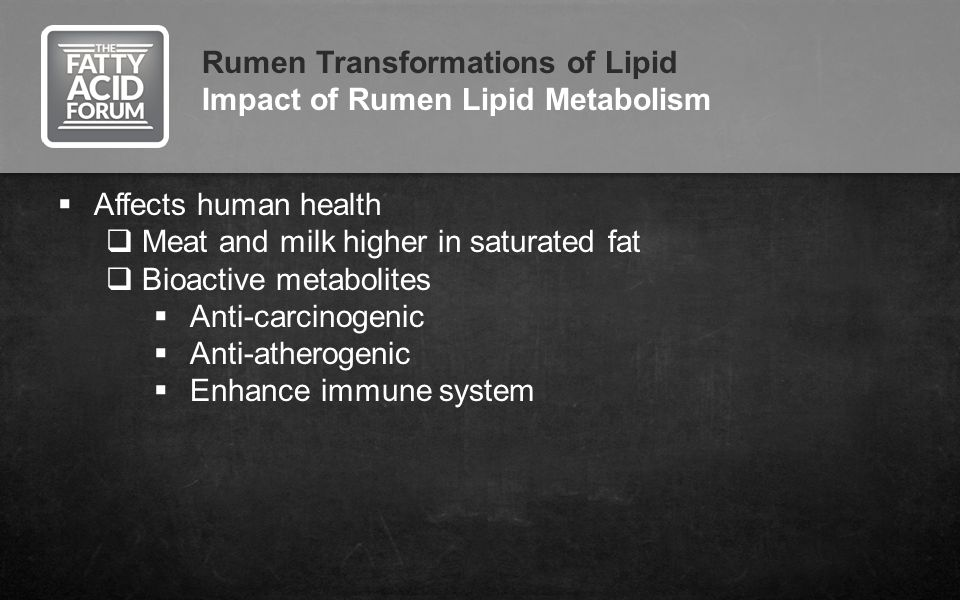 Rumen Transformations of Lipid Impact of Rumen Lipid Metabolism Affects human health Meat and milk higher in saturated fat Bioactive metabolites Anti-