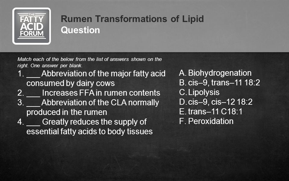 Rumen Transformations of Lipid Question Match each of the below from the list of answers shown on the right. One answer per blank. 1.___ Abbreviation