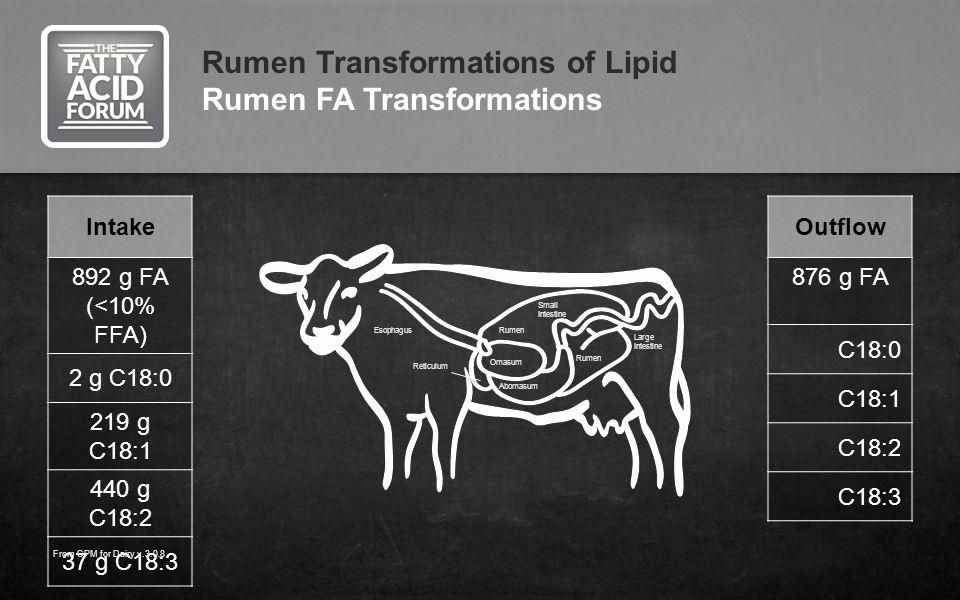 Intake 892 g FA (<10% FFA) 2 g C18:0 219 g C18:1 440 g C18:2 37 g C18:3 Rumen Transformations of Lipid Rumen FA Transformations Outflow 876 g FA C18:0 C18:1 C18:2 C18:3 From CPM for Dairy v.3.0.8 Large Intestine Small Intestine Rumen Omasum Abomasum Reticulum Esophagus Rumen