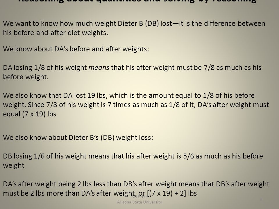 Reasoning about quantities and solving-by-reasoning MTE 494 Arizona State University 6 We want to know how much weight Dieter B (DB) lostit is the difference between his before-and-after diet weights.