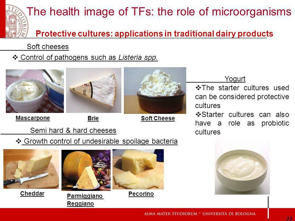 The health image of TFs: the role of microorganisms 22 Protective cultures: applications in traditional dairy products Yogurt The starter cultures used can be considered protective cultures Starter cultures can also have a role as probiotic cultures Brie Mascarpone Soft Cheese Soft cheeses Control of pathogens such as Listeria spp.
