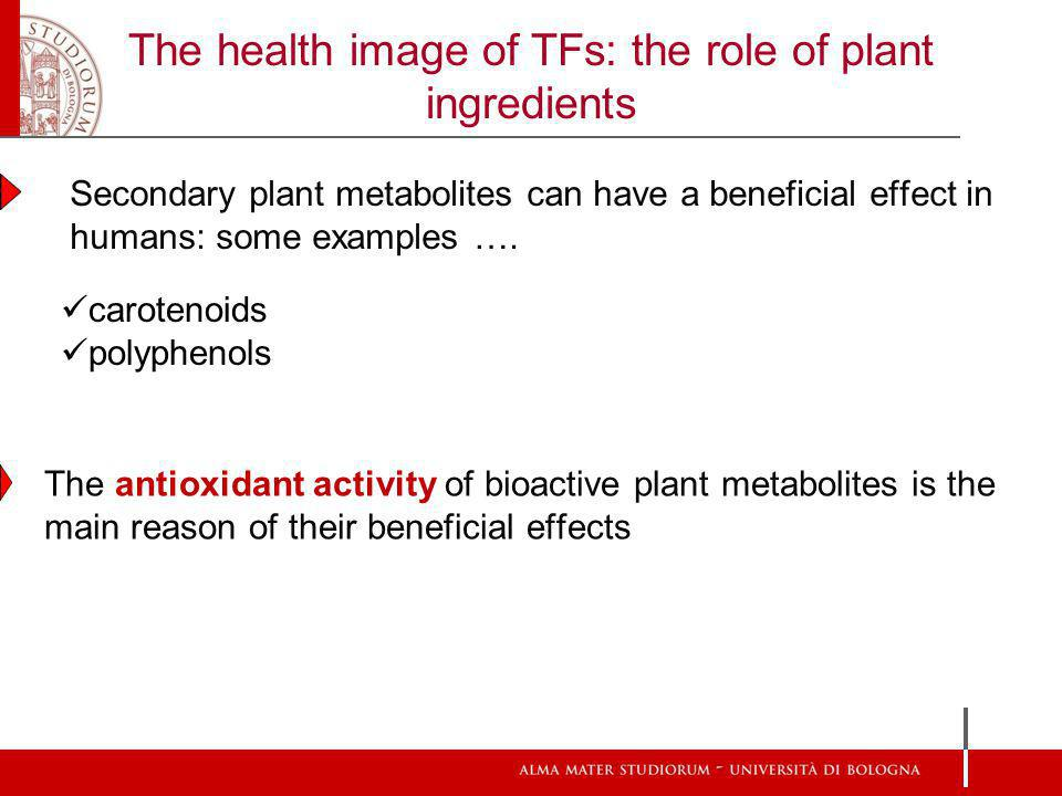 The health image of TFs: the role of plant ingredients Secondary plant metabolites can have a beneficial effect in humans: some examples ….