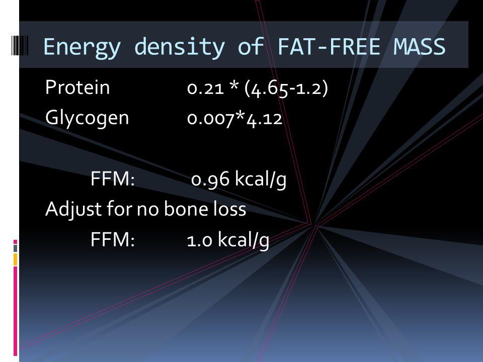 Protein0.21 * (4.65-1.2) Glycogen0.007*4.12 FFM: 0.96 kcal/g Adjust for no bone loss FFM: 1.0 kcal/g Energy density of FAT-FREE MASS
