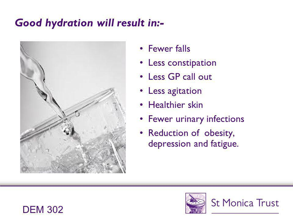 Good hydration will result in:- Fewer falls Less constipation Less GP call out Less agitation Healthier skin Fewer urinary infections Reduction of obe