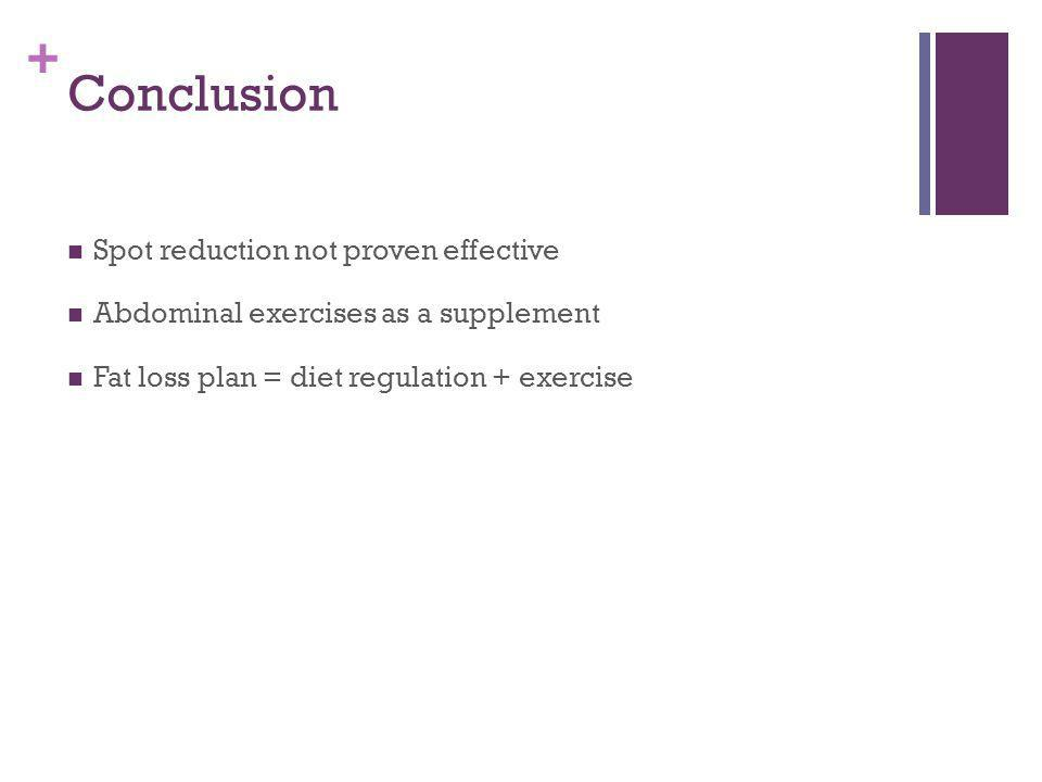 + Conclusion Spot reduction not proven effective Abdominal exercises as a supplement Fat loss plan = diet regulation + exercise
