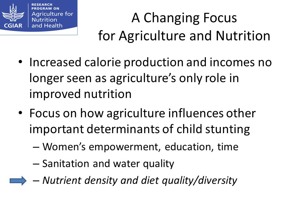 A Changing Focus for Agriculture and Nutrition Increased calorie production and incomes no longer seen as agricultures only role in improved nutrition Focus on how agriculture influences other important determinants of child stunting – Womens empowerment, education, time – Sanitation and water quality – Nutrient density and diet quality/diversity