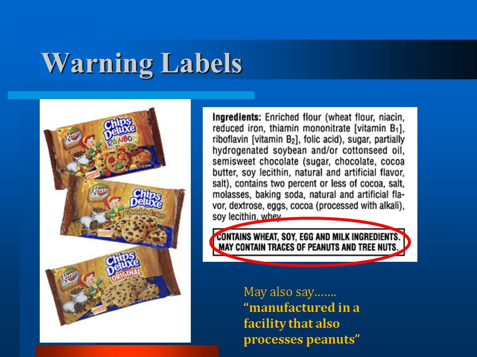 Warning Labels May also say……. manufactured in a facility that also processes peanuts