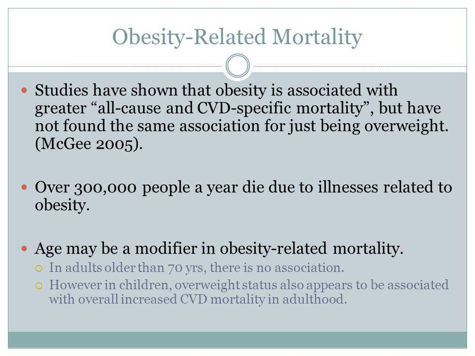 Obesity-Related Mortality Studies have shown that obesity is associated with greater all-cause and CVD-specific mortality, but have not found the same