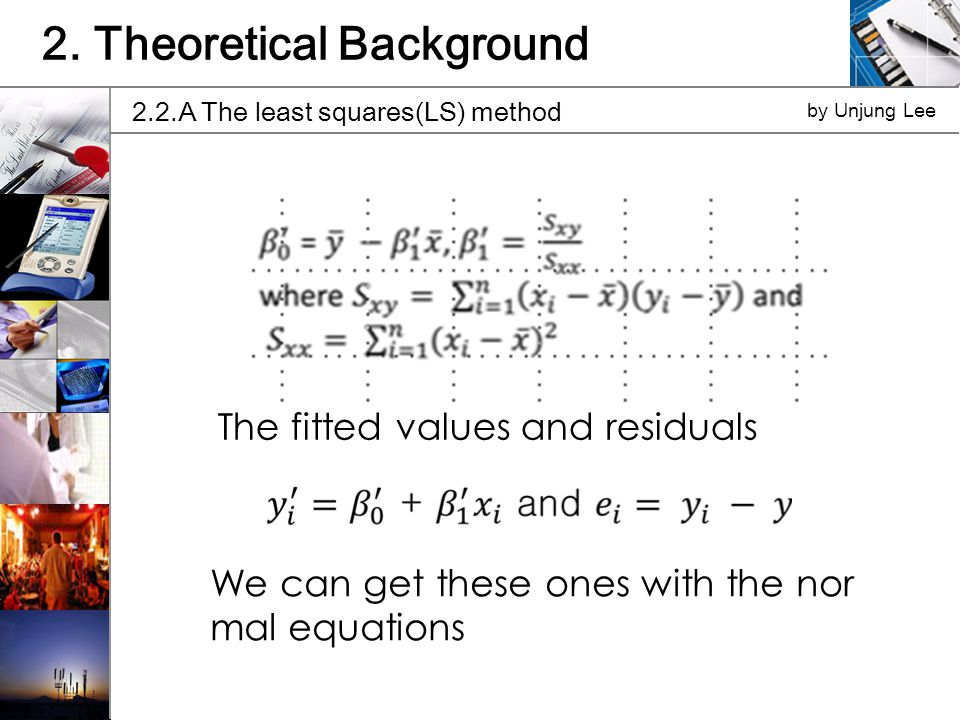 The fitted values and residuals We can get these ones with the nor mal equations 2.2.A The least squares(LS) method by Unjung Lee 2.