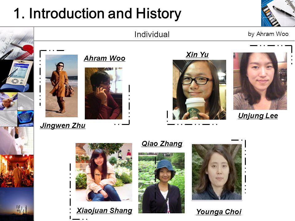 1. Introduction and History Individual by Ahram Woo Ahram Woo Jingwen Zhu Xiaojuan Shang Younga Choi Qiao Zhang Unjung Lee Xin Yu