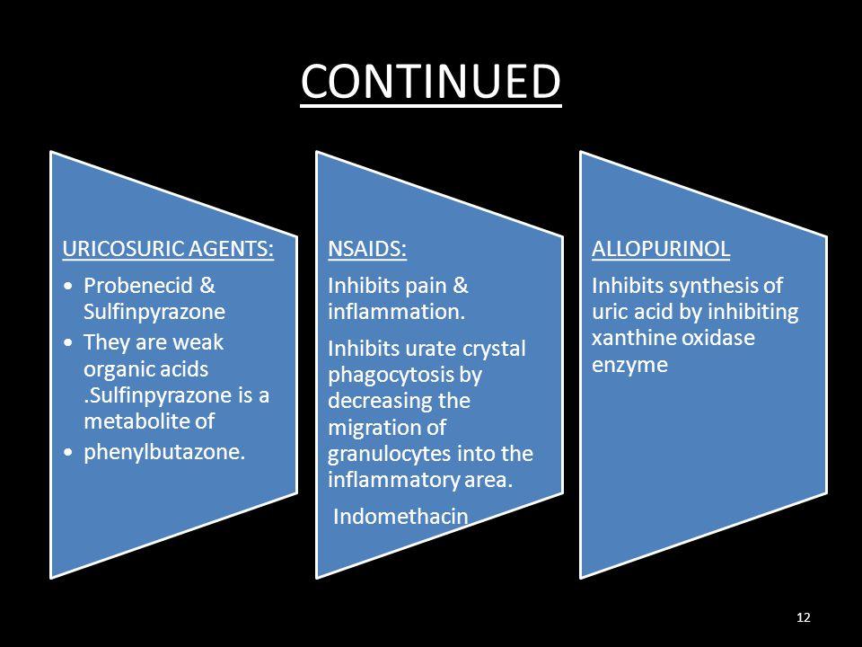 CONTINUED URICOSURIC AGENTS: Probenecid & Sulfinpyrazone They are weak organic acids.Sulfinpyrazone is a metabolite of phenylbutazone. NSAIDS: Inhibit