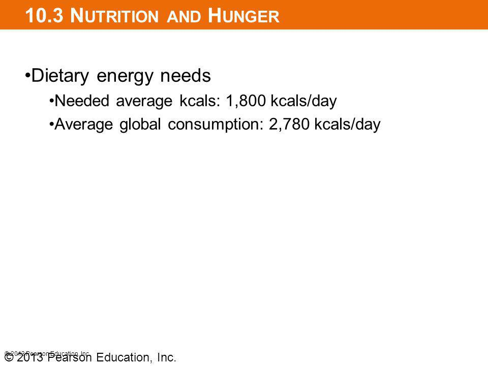 10.3 N UTRITION AND H UNGER Dietary energy needs Needed average kcals: 1,800 kcals/day Average global consumption: 2,780 kcals/day © 2013 Pearson Education, Inc.