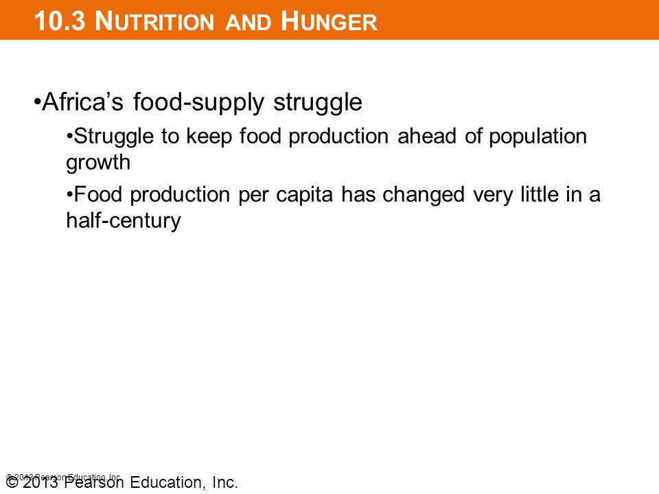10.3 N UTRITION AND H UNGER Africas food-supply struggle Struggle to keep food production ahead of population growth Food production per capita has changed very little in a half-century © 2013 Pearson Education, Inc.