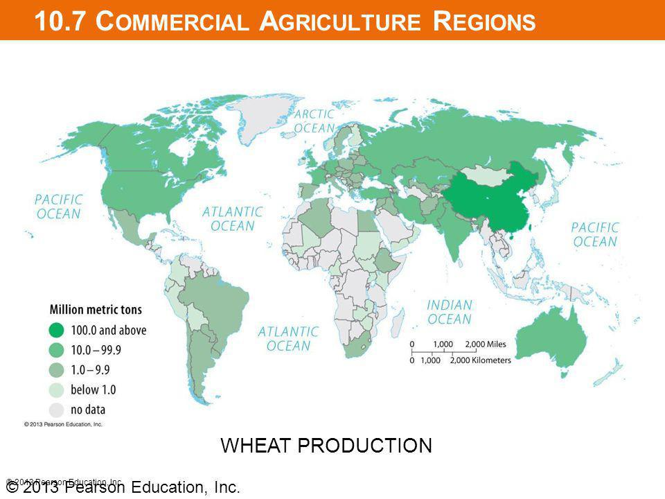 10.7 C OMMERCIAL A GRICULTURE R EGIONS © 2013 Pearson Education, Inc. WHEAT PRODUCTION © 2013 Pearson Education, Inc.