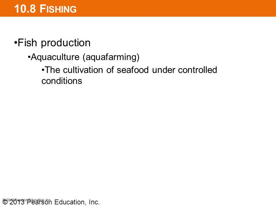 10.8 F ISHING Fish production Aquaculture (aquafarming) The cultivation of seafood under controlled conditions © 2013 Pearson Education, Inc.