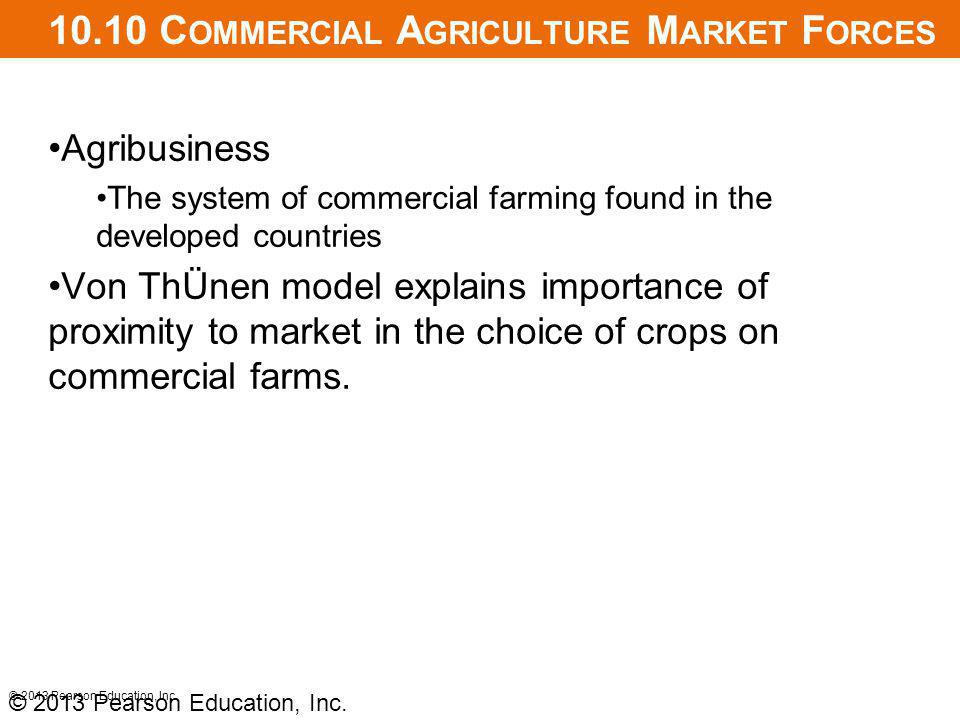 10.10 C OMMERCIAL A GRICULTURE M ARKET F ORCES Agribusiness The system of commercial farming found in the developed countries Von ThÜnen model explains importance of proximity to market in the choice of crops on commercial farms.