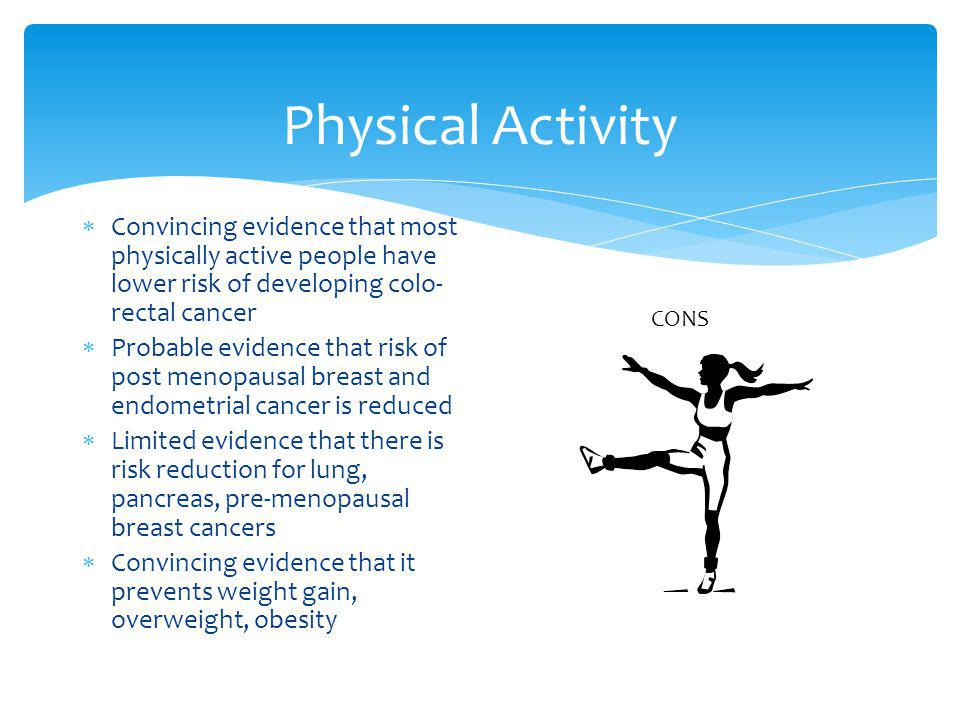 Physical Activity Convincing evidence that most physically active people have lower risk of developing colo- rectal cancer Probable evidence that risk of post menopausal breast and endometrial cancer is reduced Limited evidence that there is risk reduction for lung, pancreas, pre-menopausal breast cancers Convincing evidence that it prevents weight gain, overweight, obesity CONS