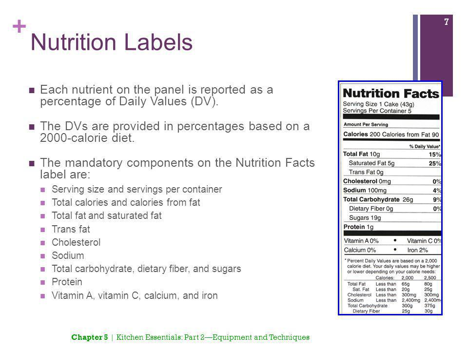 + Nutrition Labels Each nutrient on the panel is reported as a percentage of Daily Values (DV). The DVs are provided in percentages based on a 2000-ca