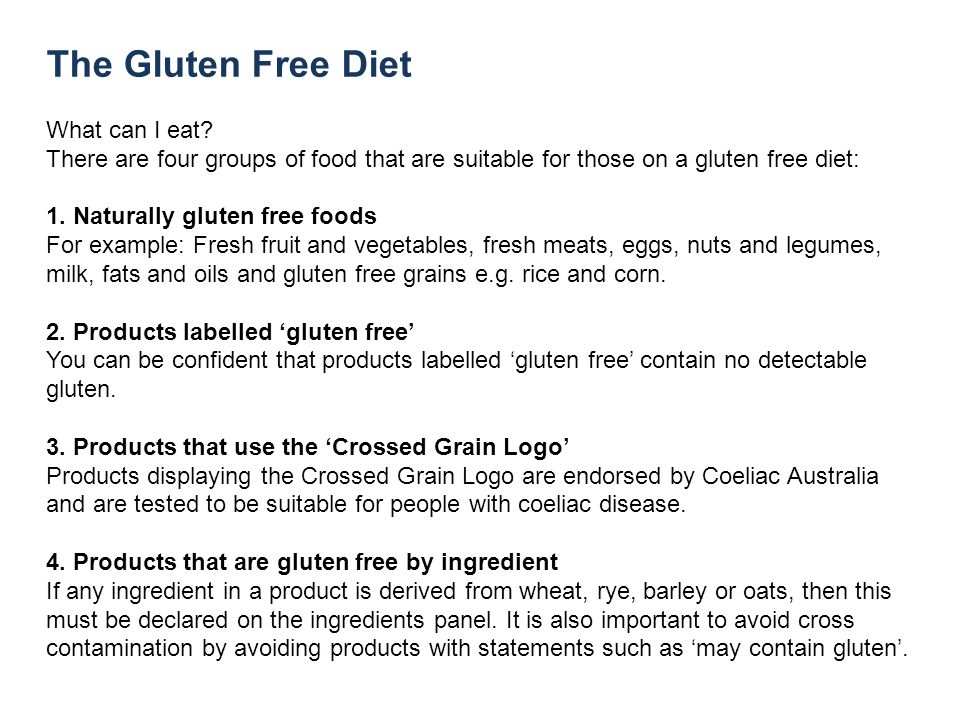 The Gluten Free Diet What can I eat.