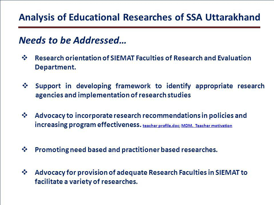 Needs to be Addressed… Support in developing framework to identify appropriate research agencies and implementation of research studies Research orientation of SIEMAT Faculties of Research and Evaluation Department.