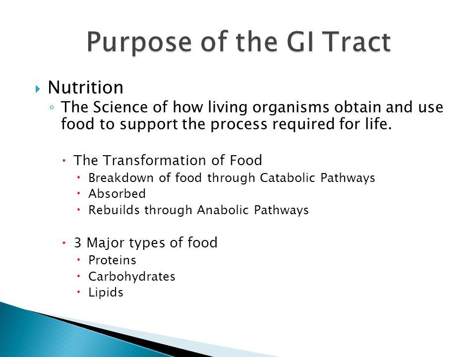 Nutrition The Science of how living organisms obtain and use food to support the process required for life. The Transformation of Food Breakdown of fo