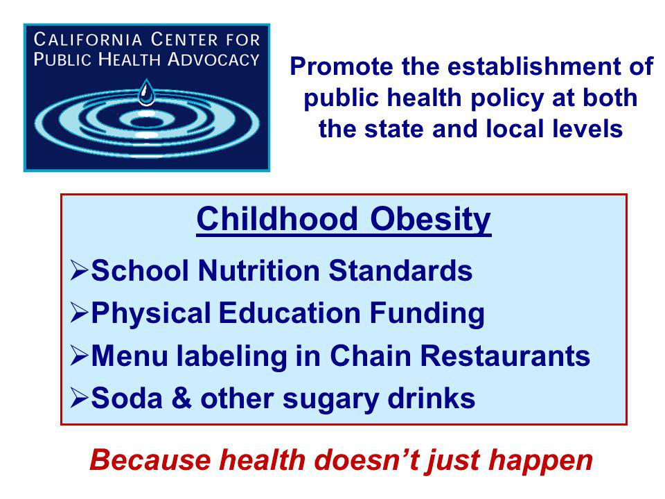 Promote the establishment of public health policy at both the state and local levels Childhood Obesity School Nutrition Standards Physical Education Funding Menu labeling in Chain Restaurants Soda & other sugary drinks Because health doesnt just happen