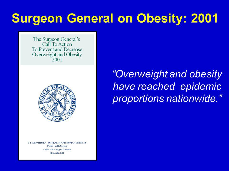 Overweight and obesity have reached epidemic proportions nationwide.
