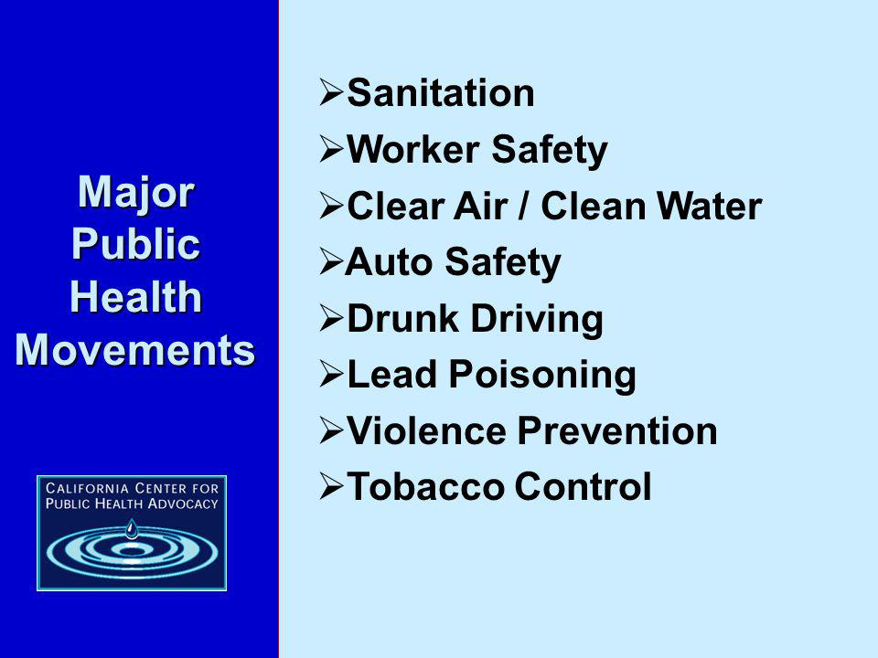 Sanitation Worker Safety Clear Air / Clean Water Auto Safety Drunk Driving Lead Poisoning Violence Prevention Tobacco Control Major Public Health Movements