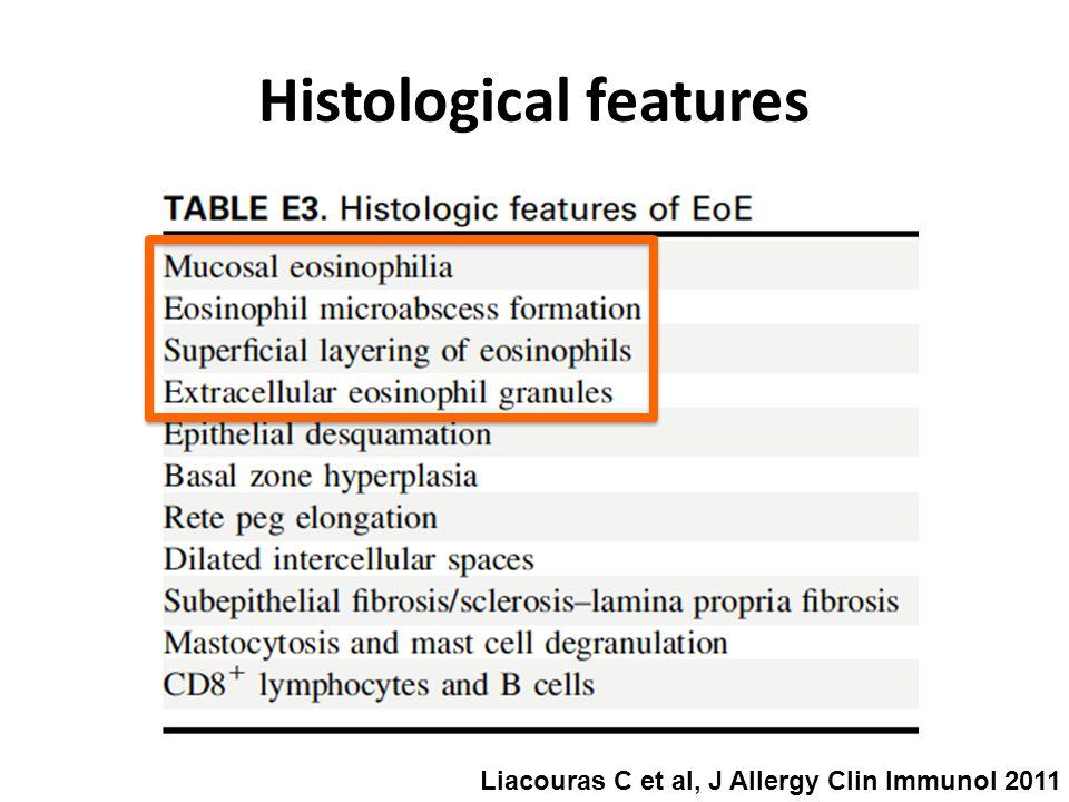 Histological features Liacouras C et al, J Allergy Clin Immunol 2011